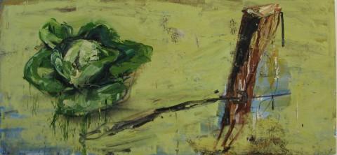 Dieter Krieg, o.T., Salat / Zaun, 1988/89